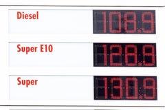 Дисплей цены на бензозаправочной колонке Стоковая Фотография RF