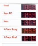 Дисплей цены на бензозаправочной колонке Стоковые Изображения