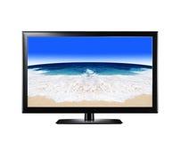 Дисплей LCD показывая песчаный пляж Стоковое фото RF