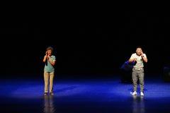 Дистантное простые люди тетушки- квадратного танца скачки звонк-эскиза большой этап Стоковое Изображение RF