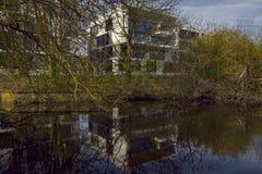 Дистантные белые блоки зданий и деревья зимы мака претендующие на тонкий вкус Стоковое фото RF