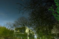Дистантные белые блоки зданий и деревья зимы мака претендующие на тонкий вкус Стоковая Фотография RF