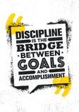 Дисциплина мост между целями и выполнением Воодушевляя творческий шаблон плаката цитаты мотивировки иллюстрация вектора
