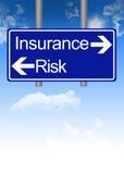 Дилемма страхования или риска на дорожном знаке Стоковая Фотография