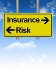 Дилемма страхования или риска на дорожном знаке Стоковые Фото