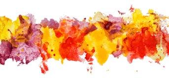Длинная граница цвета акварели гуаши нарисованного рукой бумажного пятнает Стоковые Фотографии RF