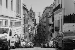 Длинная прямая дорога в Валлетте, Мальте Стоковая Фотография RF