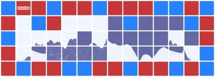 Длинная яркая абстракция с красными и голубыми горами Стоковое Фото