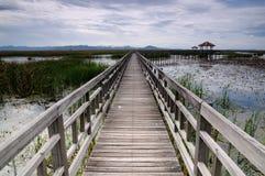 Длинний деревянный мост Стоковое Фото
