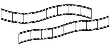 Длинное изогнутое Filmstrips на белой предпосылке стоковая фотография rf