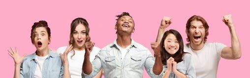 длинной с Полу конец вверх по портрету молодых людей на розовой предпосылке стоковое фото rf