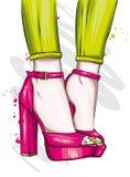 Длинные худенькие ноги в плотных брюках и высоко-накрененных ботинках Мода, стиль, одежда и аксессуары также вектор иллюстрации п иллюстрация штока