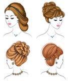 Длинный заплетает творческие каштановые волосы, изолированные на белой предпосылке Стили причесок женщины Установите иллюстраций  иллюстрация вектора