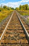 Длинный след поезда, железная дорога, в сельской местности стоковые фотографии rf