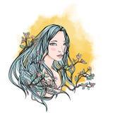 Длинн-с волосами женщина среди ветвей и цветков вишневых цветов бесплатная иллюстрация