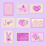Cute stamps in shades of gray with the image of hearts, roses, clasps, inscriptions love and patterns royalty free illustration