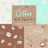 4 pattern with coffe and logo for drink stock illustration