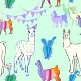Seamless pattern with llamas and cactus stock illustration
