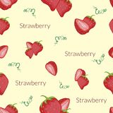 Juicy strawberries in vintage style, handmade style, cartoon style with typography royalty free illustration