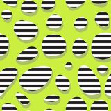 Seamless abstract green pattern with stripes in the holes stock illustration