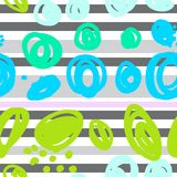 seamless abstract pattern with multicolored spots and stripes vector illustration