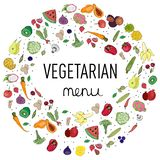 lettering vegan menu, decoration, vegetable design royalty free illustration
