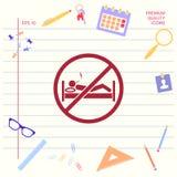 Для некурящих в кровати - значке запрета Графические элементы для вашего дизайна иллюстрация штока