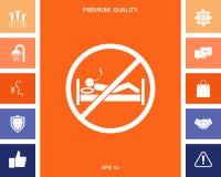 Для некурящих в кровати - значке запрета бесплатная иллюстрация