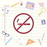 Для некурящих, значок запрета на курение Сигарета - запрещать знак Графические элементы для вашего дизайна иллюстрация штока