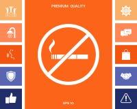 Для некурящих, значок запрета на курение Сигарета - запрещать знак иллюстрация вектора