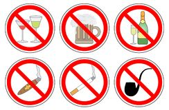 Для некурящих и выпивая спирт, комплект знака запрета, вектора иллюстрация штока
