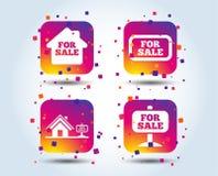 Для продажи значки Продавать недвижимости иллюстрация вектора