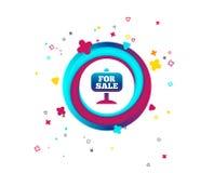 Для продажи значок знака Продавать недвижимости иллюстрация вектора