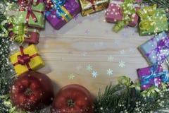 Для рождества, подарок в пестротканой коробке Стоковые Фотографии RF