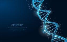 Дна Абстрактная полигональная спираль винтовой линии молекулы дна wireframe 3d на сини иллюстрация штока