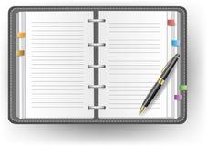 Дневник офиса без линии, пер ballpoint, и мыши бесплатная иллюстрация
