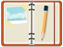 Дневник для того чтобы записать перемещение Стоковое фото RF
