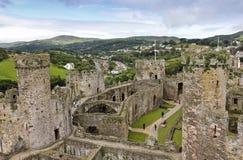 Дневное время Conwy и съемка замка Conwy Стоковое Изображение RF