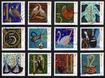 12 дней рождества на штемпелях почтового сбора Стоковые Изображения RF