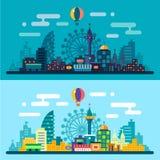 Днем и ночью ландшафт города Стоковое Изображение