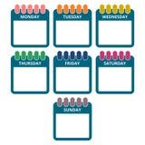 Дни недели, календаря покрывают с днями недели бесплатная иллюстрация