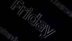 Дни недели - пятницы, над черной и серой предпосылкой, 3D Оживленный текст пятница на темной предпосылке иллюстрация вектора