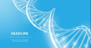 ДНК Спираль винтовой линии молекулы ДНК wireframe конспекта 3d полигональная на сини бесплатная иллюстрация