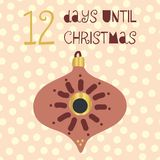 12 дня до иллюстрации вектора рождества Комплекс предпусковых операций рождества 12 дней до Санта Винтажный скандинавский стиль в иллюстрация вектора