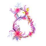 Дня женщин акварели иллюстрация поздравительной открытки счастливого винтажная с цветками разнообразия и текстом 8-ое марта Стоковое фото RF