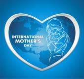 Дн-логотип международной матери, мать с младенцем на предпосылке карты мира и голубой предпосылке иллюстрация вектора