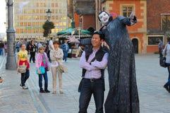 Художник улицы в WrocÅaw, Польша Стоковые Фотографии RF