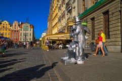 Художник улицы в WrocÅaw, Польша Стоковая Фотография RF