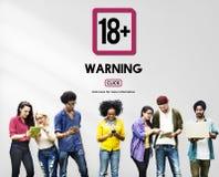 Добавочное взрослое точное содержимое предупреждение 18 Стоковые Изображения RF