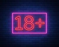 18 добавочное, возрастное ограничение, подписывают внутри неоновый стиль Только для взрослых Неоновая вывеска ночи яркая, символ  Стоковое Изображение